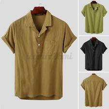 Camisa Masculina Manga Curta Camisas de linho Henley Blusa Casual Slim Fit Vestido macio Tops Tee