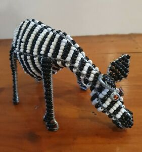 African - WIRE & THREADED BEAD ZEBRA - Sculptural Decoration - Quality Piece