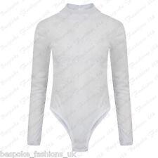 Ladies Women's See Through Velvet Embossed Sheer Mesh Bodysuit Leotard Top 6-12 White Ml 10-12