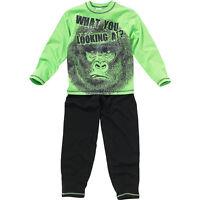 Older Boys Scary Gorilla Pyjamas Long Sleeve Long Leg Black Green Black 6-13yrs