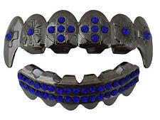Hip Hop Gun Metal Mouth Teeth  Grillz Upper & Lower Set Cross Fangs Blue Stone
