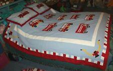 """Pottery Barn Kids Set Firetruck Quilt Pillow Shams 70x80"""" Boys Dog Blanket Cute"""