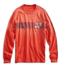 Lucky Brand - Mens XXL - Distressed Orange Tropicana Motorcycle Long Sleeve Tee