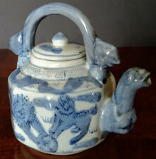 Chinese OLD Square Tea Pot Blue-White Porcelain Dragon Spout w/Foo Dogs @ Play!
