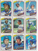 (9) 1980 Milwaukee Brewers signed cards Topps AUTO lot Gorman Thomas Lezcano