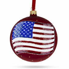 Flag of the USA on Red Glass Ball Christmas Ornament 4 Inches