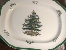 SPODE Christmas Tree Large Chop Serving Platter Scallop 16 x 12.5 ENG  #S3324