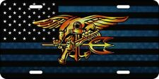 USA Navy Seal Gold Trident Aluminum Flag License Plate Buds Enlisted