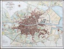 1821 Large Folded engraved Map of THE CITY OF DUBLIN Ireland Hand Colour (LM12)