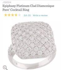 NIB: Epiphany Platinum Clad Diamonique Pave' Cocktail Ring- Size 7
