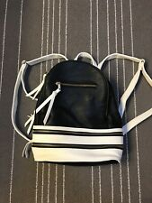 NWOT Ladies Small Backpack Black White Lined Faux Leather Zipper