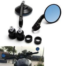 "Black CNC 7/8"" Round Motorcycle Rear View Mirror Handlebar End Plug Mirrors 2x"