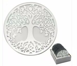 Beautiful Tree Of Life Round mirrored Glass Candle Plate 10 cm