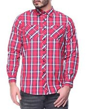 Akademiks Mens Red Large Sean Plaid Lightweight Long Sleeve Button-Down Shirt