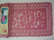 "2 Classic Floral Doilies~Centerpiece Doily~12"" x 18""~Rose Color~American Crafts"