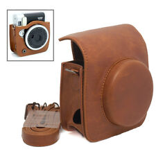 For Fujifilm Instax Mini 90 NEO Camera PU Leather Case Retro Bag Brown w/ Strap