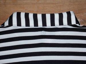 Men's NWOT STITCH Golf Polo M/L BLACK & WHITE Striped w/Stitch Logo ~ Poly/Spand