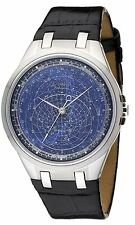 ACCURIST CELESTI Orologio Uomo Orologio Quadrante Blu Cinturino Nero GMT318UK RRP £ 295