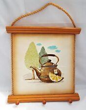 1950s Retro Look  Hand Crafted Tea Towel Holder w/ Decorative Large Ceramic Tile