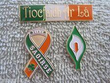 """Saoirse"" ""Tiocfaidh Ar La"" & Easter Lily 3 Piece Irish AOH Pin Set Sale!!!!"