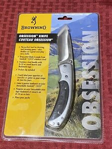 "BROWNING OBSESSION Single 3-1/4"" Blade Folding Knife - Silver - New In Package"