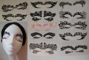 A pair black eye shadows tattoo sticker Festival temporary face lace art tattoos