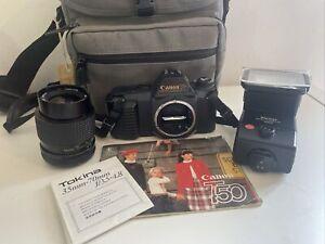 Canon T50 35mm SLR Film Camera, Tokina 35-70mm Lens & Vivitar Flash Setup