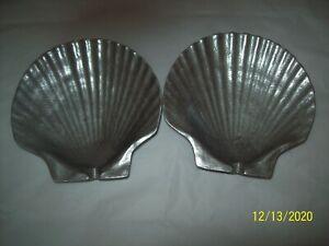 Armetale Wilton Pewter Scallop Sea Shell Small Bowl Dish Ashtray 1960s 2 Vintage