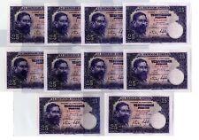 10 Billetes de España 25 pesetas 1954 Isaac Albeniz Muy Bonitos Serie Continua