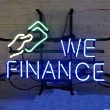 """We Finance Open Neon Lamp Sign 17""""x14"""" Bar Light Glass Artwork Decor"""