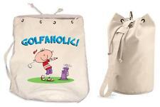 GOLFOHOLIC DUFFLE BAG - Golfing Golf Gift Present College Rucksack Gym Sports