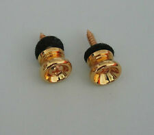 2x Guitar Strap Buttons Knobs Guitar End Pins Gold !