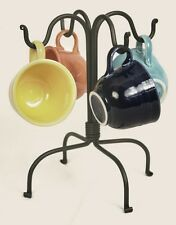 Classic Quality  Primitive Hand Wrought Iron 4 Mug Cup Display RACK Stand Tree