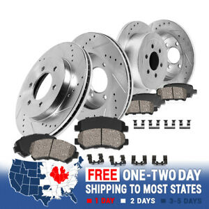 Front & Rear Drill Slot Brake Rotors & Ceramic Pads For 2010 2011 2012 Audi A3