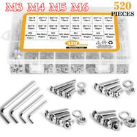 520x Stainless Steel M3 M4 M5 M6 Hex Socket Head Cap Screws Nuts Assortment Kit