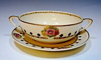 Antique Hutschenreuther Selb Bavaria Crown Lion Ivory Cream Soup Bowl & Saucer