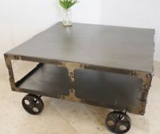 Large Industrial Style Metal Coffee Table On Wheels Urban Vintage Home Decor