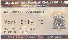 Ticket - Grays Athletic v York City 09.12.06