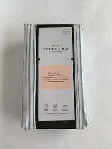 Threshold Twin Size Flat Sheet Ultra Soft White Blue Striped Cotton NEW NWT