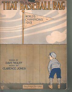 That Baseball Rag 1913 Large Format Sheet Music