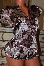 Super shiny mocha mix sleek faux satin  blouse top size 14