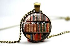 Cúpula de vidrio cabujón con colgante collar cadena Gótico/Steampunk Vintage Books # A