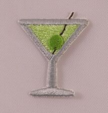 Embroidered Mini Martini Drink w/Green Olive Patch Applique Iron On Sew On USA