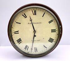 More details for antique fusee station / school wall clock - john elliott of ashford -