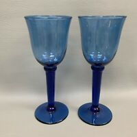 Cobalt Glass Stemmed Glasses Blue 8 7/8 High Blown? Lot of 2