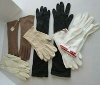 Vtg lot Ladies Gloves France 100 % Silk Leather Elbow Length & Short Dress Glove