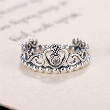 Princess Crown Silver Rhinestone Love Heart Ring Womens Girls Queen Tiara 0v 7#