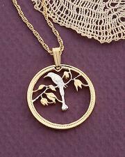 "Bird Pendant & Necklace, Belize Coin Hand Cut , 7/8"" Diameter ( # 30 )"