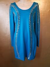 Punkyfish s.12 turquoise w' silver metal detail bodycon dress. Slip on stretch.