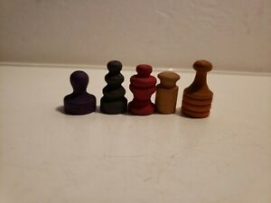 Vintage Monopoly War Time Wood Game Tokens - Lot of 5 - 1953?